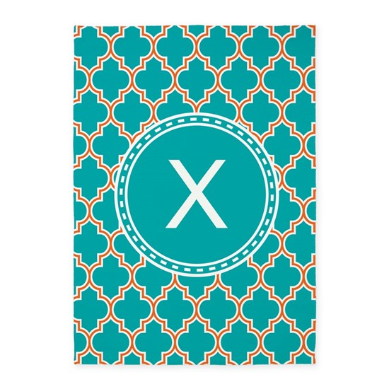 Custom Initial Teal Quatrefoil 5'x7'Area Rug By