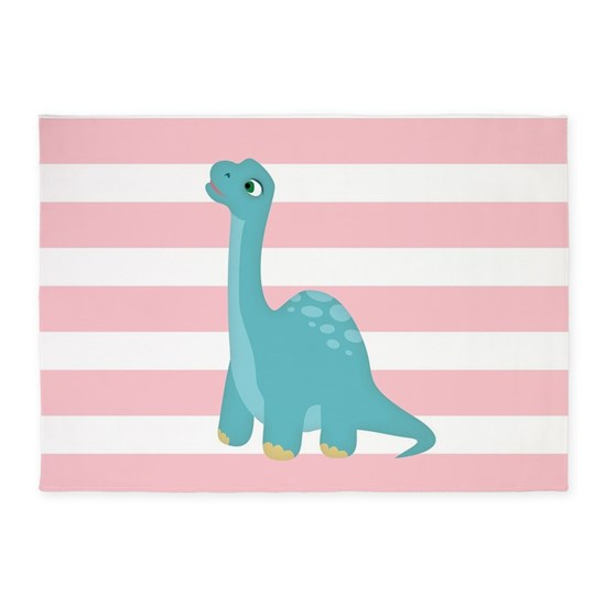 Cute Blue Dinosaur On Pastel Pink Stripes 5'x7'Are By