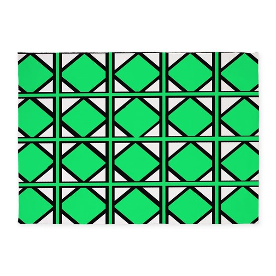 Lime Green Hex Tiles 5 X7 Area Rug By Chevroncity Cafepress