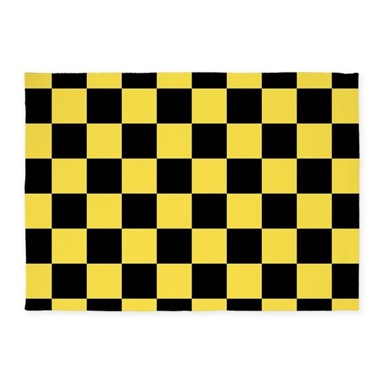 Yellow Checkered Rug: Checkered Pattern: Black & Taxi Yel 5'x7'Area Rug By 13