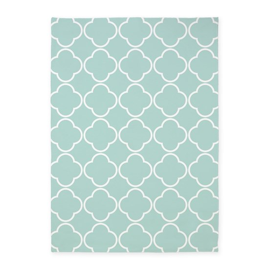 Light Teal Quatrefoil Clover Pattern 5'x7'Area Rug By