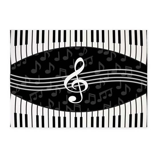3547f47d5370 Stylish designer piano and music notes 5'x7'Area R