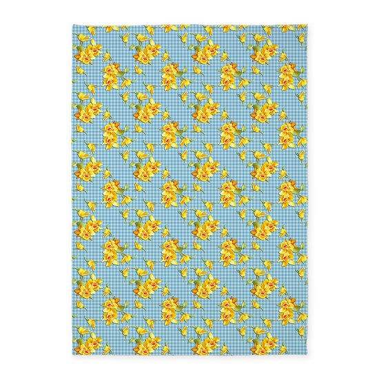 Yellow Checkered Rug: Yellow Daffodils On Blue Gingham 5'x7'Area Rug By Graphic