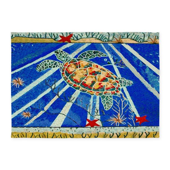 Starfish And Turtle Seascape 5'x7'Area Rug By RavenSiJohn