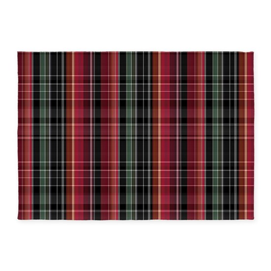 Red Green And Black Plaid 5'x7'area Rug By Lindas_World