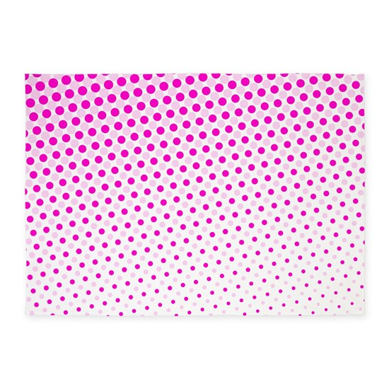 Hot Pink Dots 5 X7 Area Rug By Wheedesign Cafepress