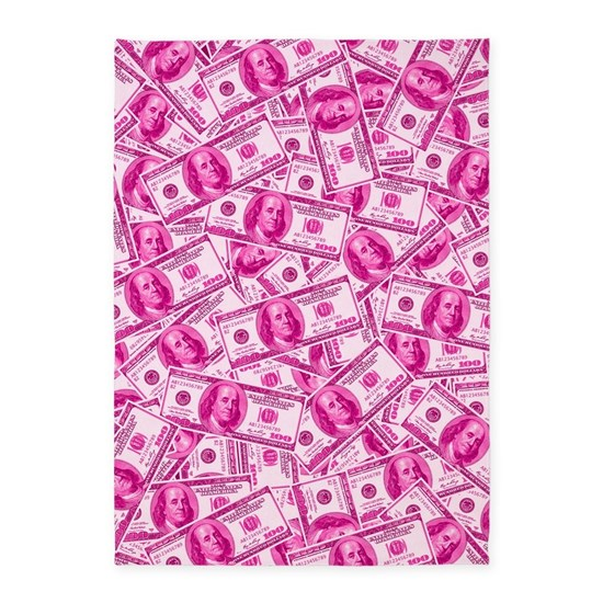 Pink Hundred Dollar Bill Pattern 5 X7 Area Rug By