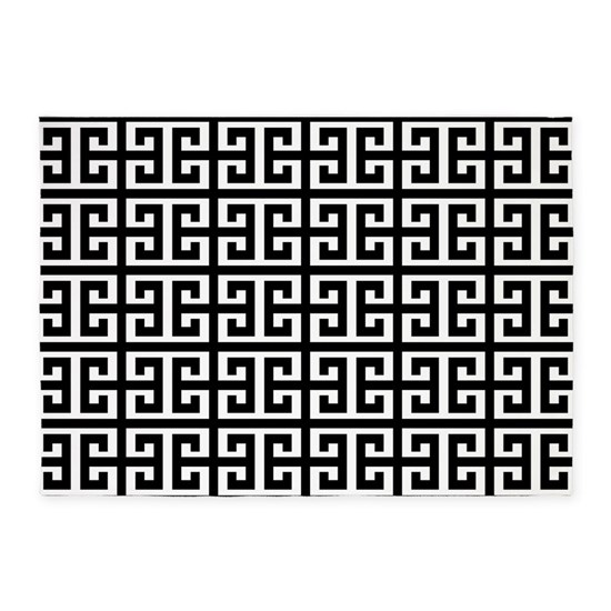 Black White Greek Key 5 X7 Area Rug