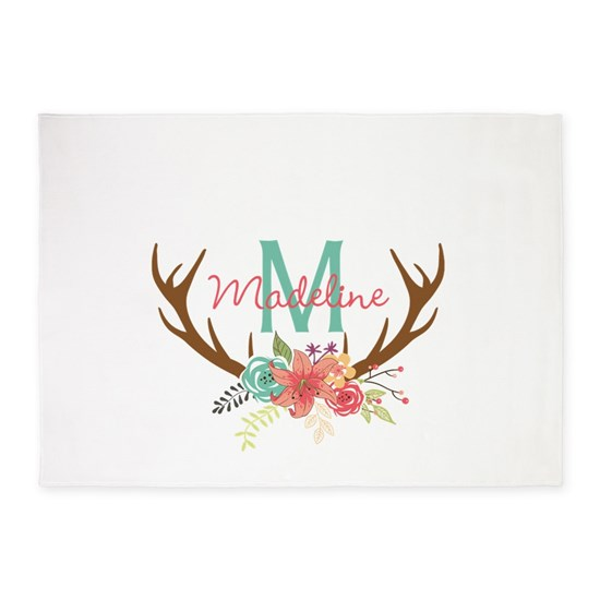Personalized Floral Antler Monogram