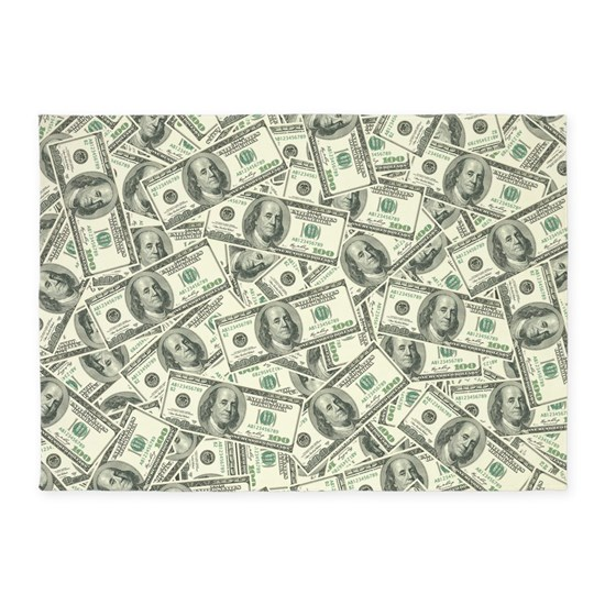 100 Dollar Bill Money Pattern 5 X7 Area Rug By Missthree