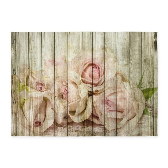 Shabby Chic Country Floral Rose Wood