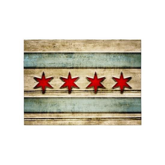 Vintage Chicago Flag Distressed Wood