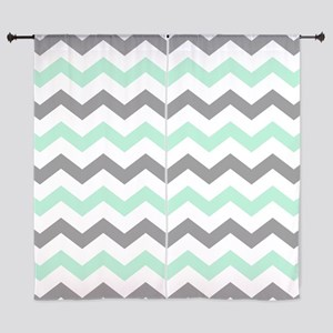 Mint And Gray Chevron Pattern Curtains