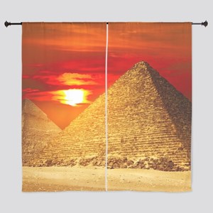 Egyptian Pyramids At Sunset Curtains