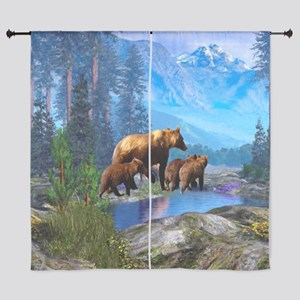 """Mountain Grizzly Bears 60"""" Curtains"""