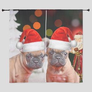"Christmas French Bulldog 60"" Curtains"