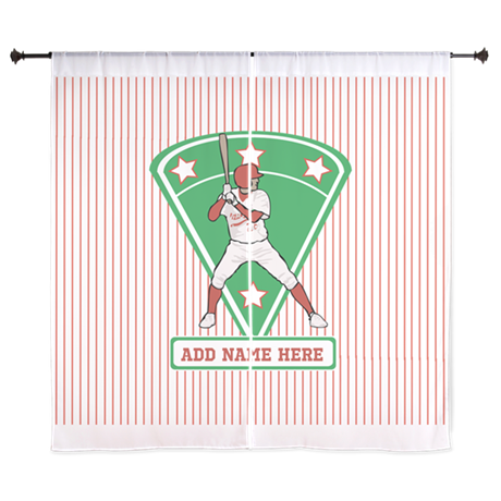 Personalized Red Baseball star player Curtains