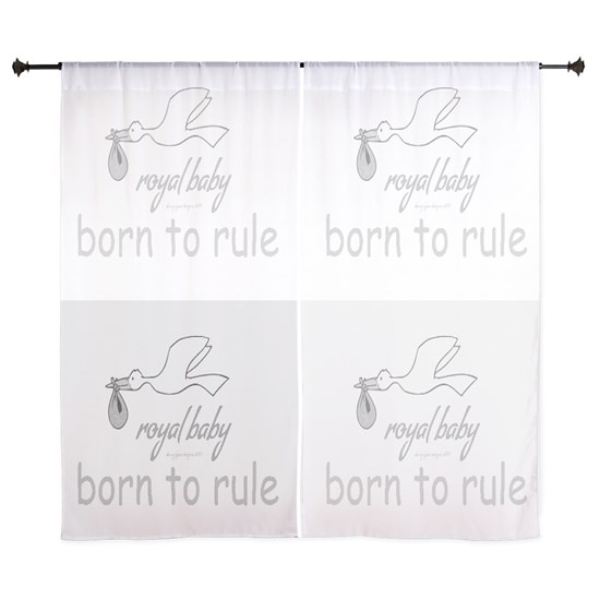 60 inch Curtains Royal Baby Rules gray