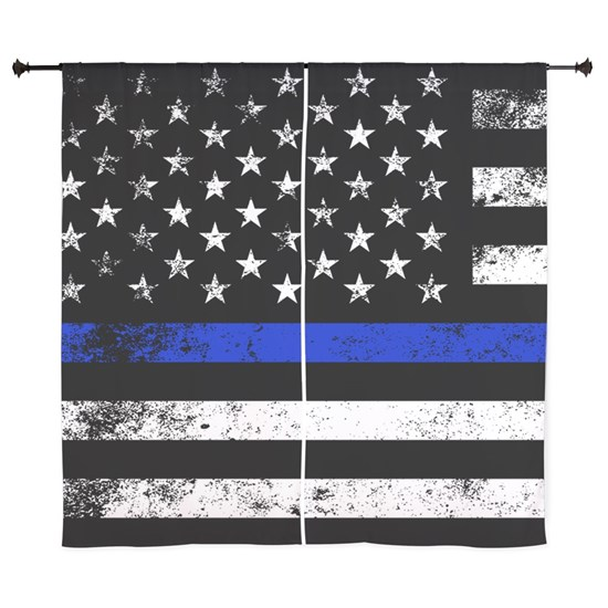 Grungy Style Thin Blue Line Police Flag
