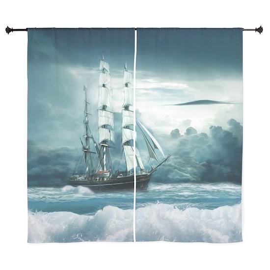 Blue Ocean Ship Storm Clouds