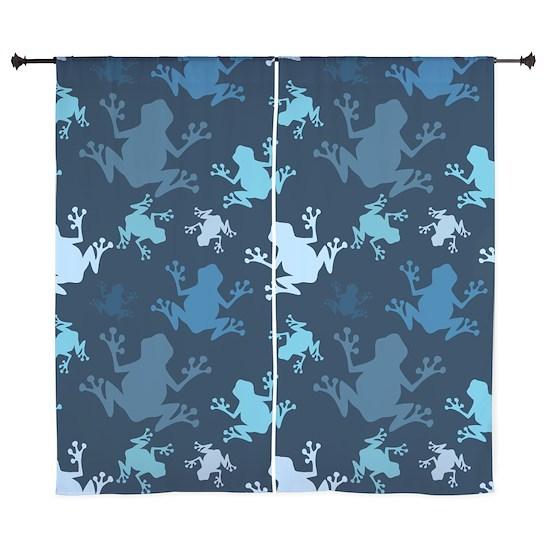 Frog Pattern; Navy, Midnight, Sky, Baby Blue Frog