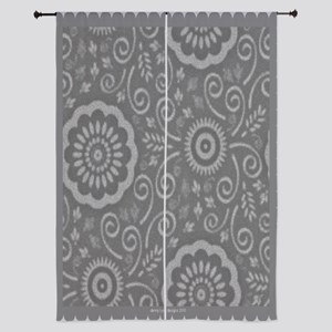 "Gray Lotus 84"" Curtains"