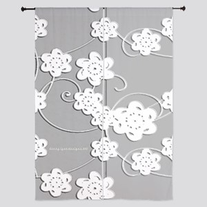 "White Flowers 84"" Curtains"