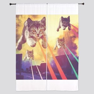 Laser Eyes Space Cats Flying T-Shirt Curtains