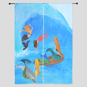 Surfing mermaids Curtains