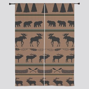 "Deep Tan Cabin Blanket 84"" Curtains"