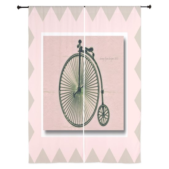 84 inch Curtains Vintage Bicycle
