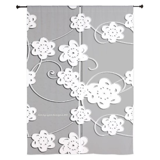84 inch Curtains White Flowers