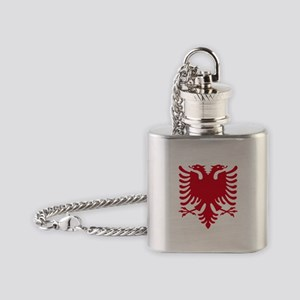 Albanian Eagle Red 56in Flask Necklace