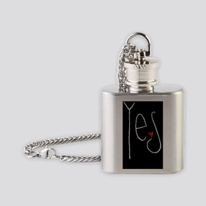 Yes Heart white Journal Flask Necklace