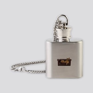 GERMAN SHEPHERD ON COUCH Flask Necklace
