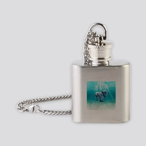 Two Manatees Swimming Flask Necklace
