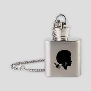 vintage black afro american woman Flask Necklace