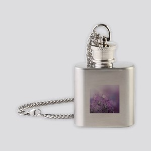Purple Frosted Flowers Flask Necklace