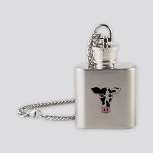 Sweet Cow Face Design Flask Necklace