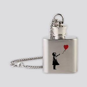 Banksy - Little Girl with Ballon Flask Necklace