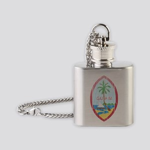 Guam Coat of Arms wood Flask Necklace