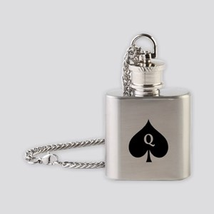 Queen of Spades With Q inside of Logo Flask Neckla