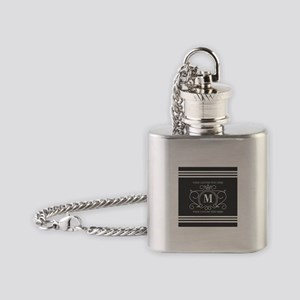 Gray Victorian Stripes Personalized Flask Necklace