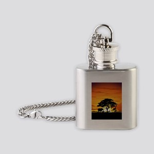 Wild Animals on African Savannah Sunset Flask Neck