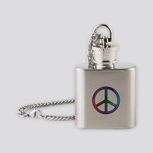 Multicolored Peace Sign Flask Necklace