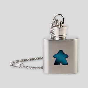 Metallic Meeple - Blue Flask Necklace