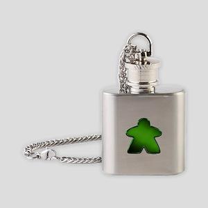 Metallic Meeple - Green Flask Necklace