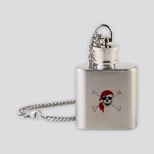 Pirate Skull and Bones, Red Bandann Flask Necklace