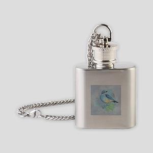 Watercolor Bluebird Blue Bird Art Flask Necklace