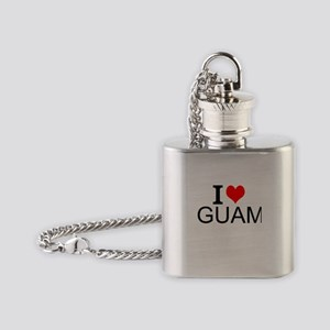 I Love Guam Flask Necklace